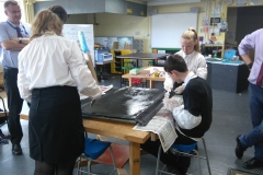 Pupils making body sections